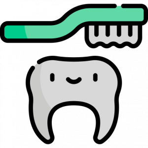 Brushing a happy tooth