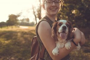 A happy owner with her doggo
